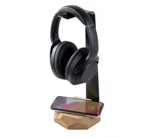 Oakywood Houten koptelefoonstandaard van massief eiken- of walnoothout voorzien van een draadloze oplader
