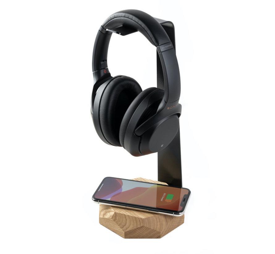 Houten koptelefoonstandaard van massief eiken- of walnoothout voorzien van een draadloze oplader