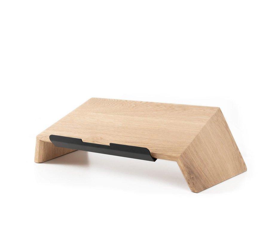 Laptopverhoger van eiken- of walnoothout
