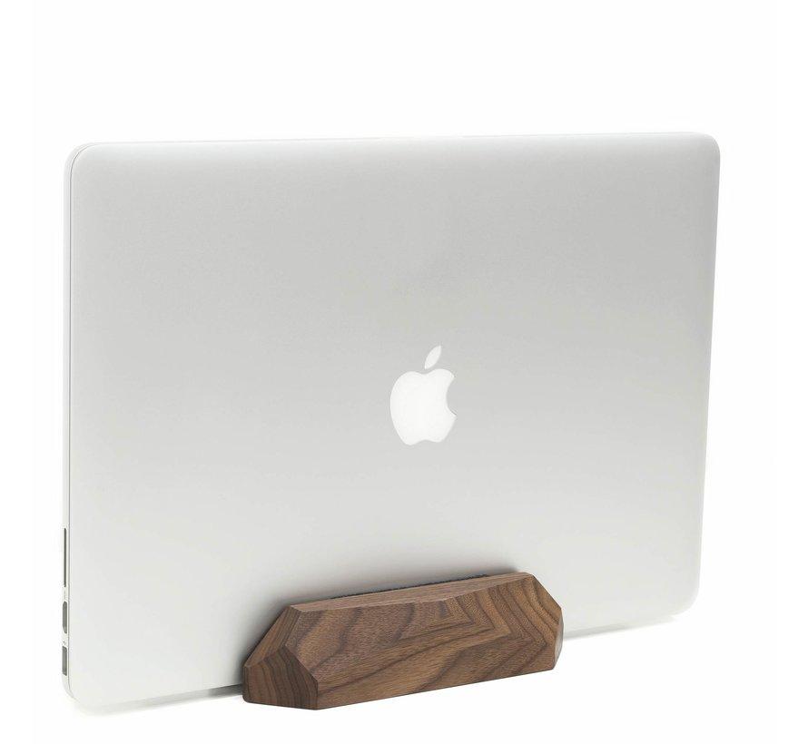 Verticale laptopstandaard van eiken- of walnoothout