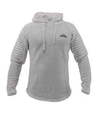 Legend Sports Fitness Hoodie Rib Sleeve White
