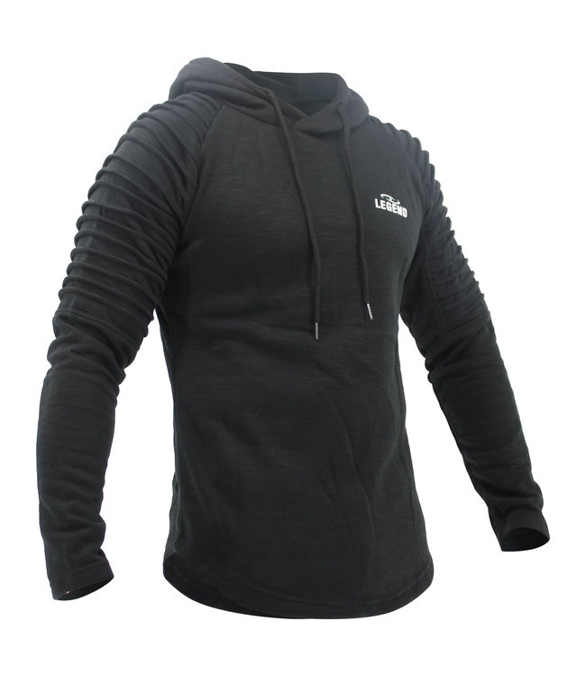 Legend Sports Hoodie Rib Sleeve Black