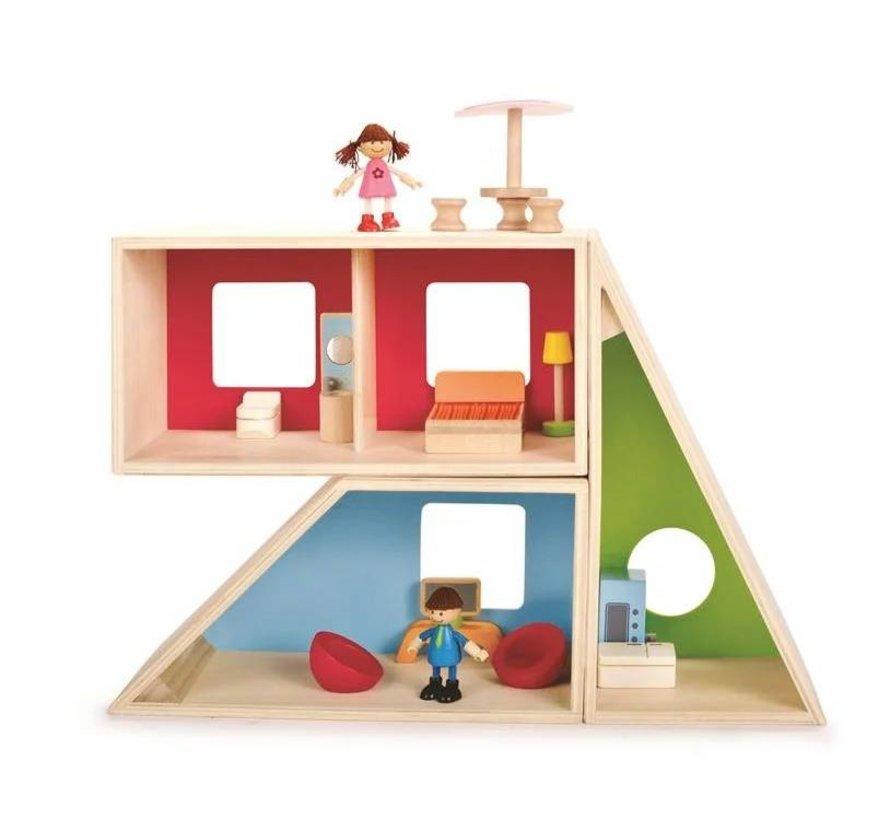 Geometrics Poppenhuis Hape hout
