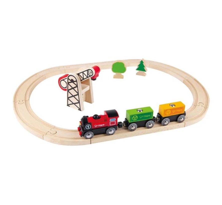 Houten treinbaan Elektrische locomotief Hape Actie!