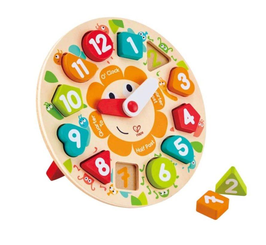 Leren klokkijken puzzel hout Hape