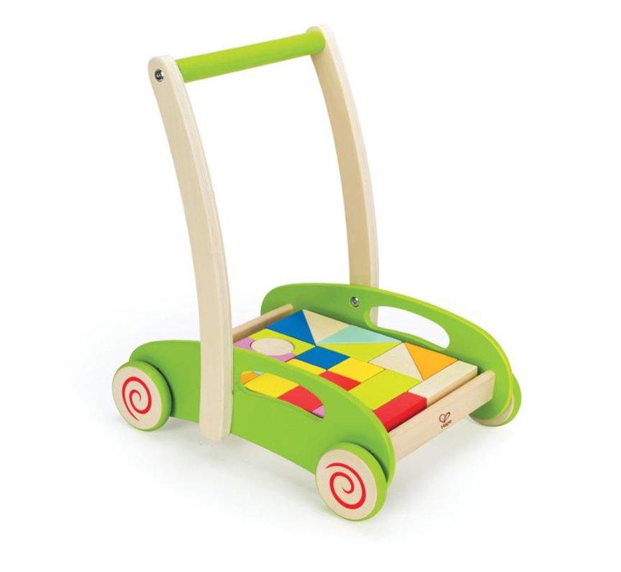 Loopwagen Hout Blokken Color Hape