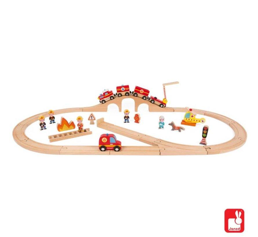 Houten Treinbaan Brandweer Janod