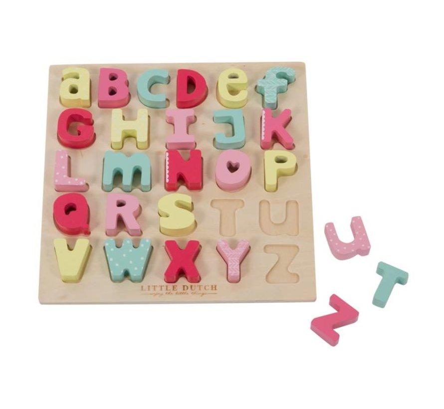Letterpuzzel Alfabet Little Dutch Roze