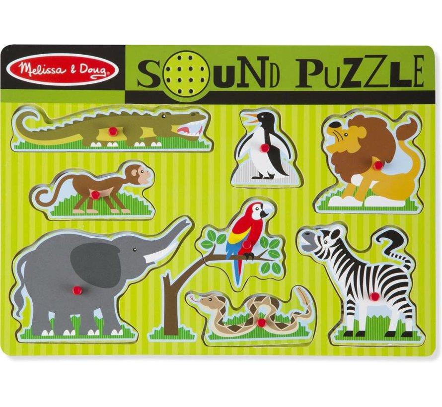 Melissa & Doug Houten Geluidspuzzel dierentuindieren