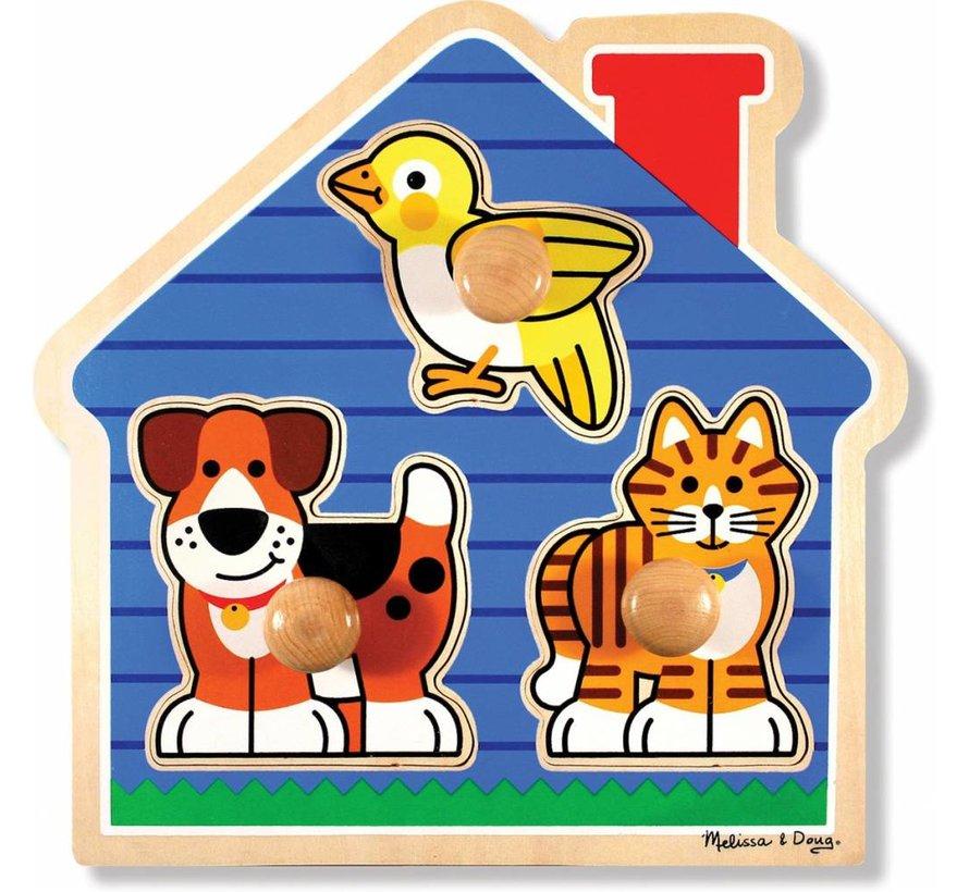 Melissa & Doug Houten dierenpuzzel met grote knoppen