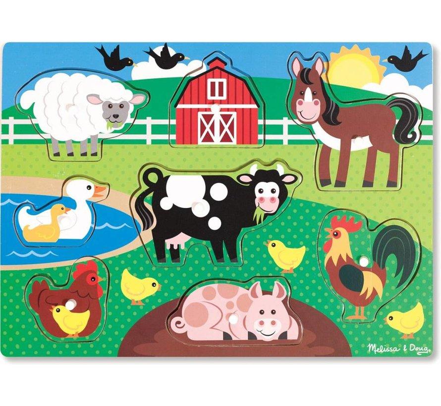 Melissa & Doug Houten knopjes puzzel boerderij (8-delig)