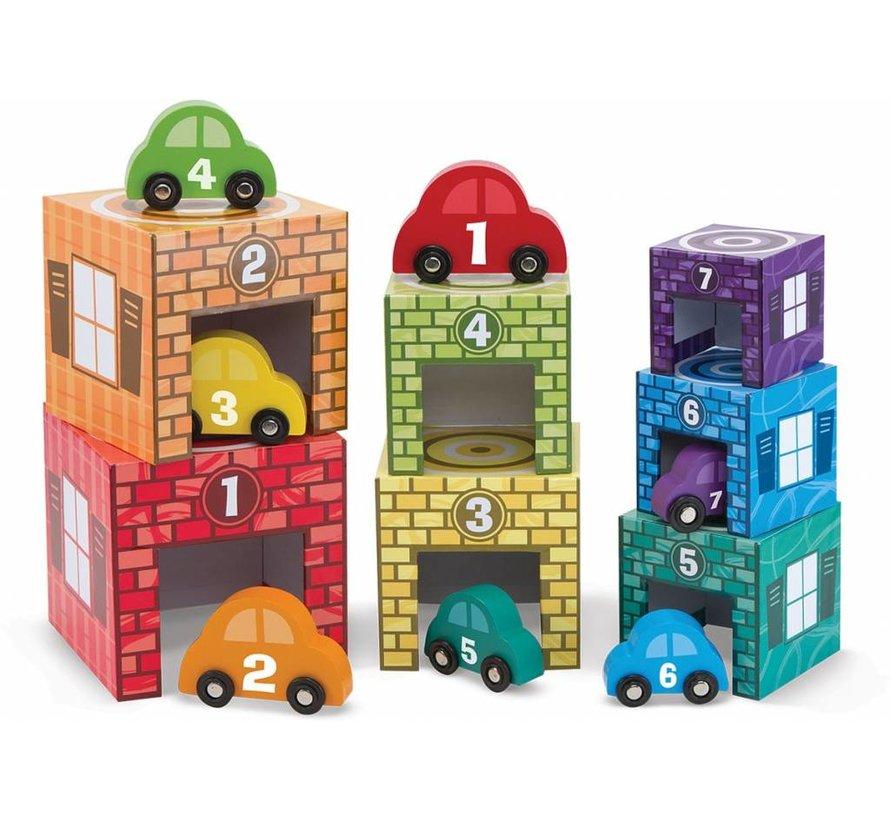 Melissa & Doug Houten Garage om te leren tellen en verzamelen - met 7 houten auto's