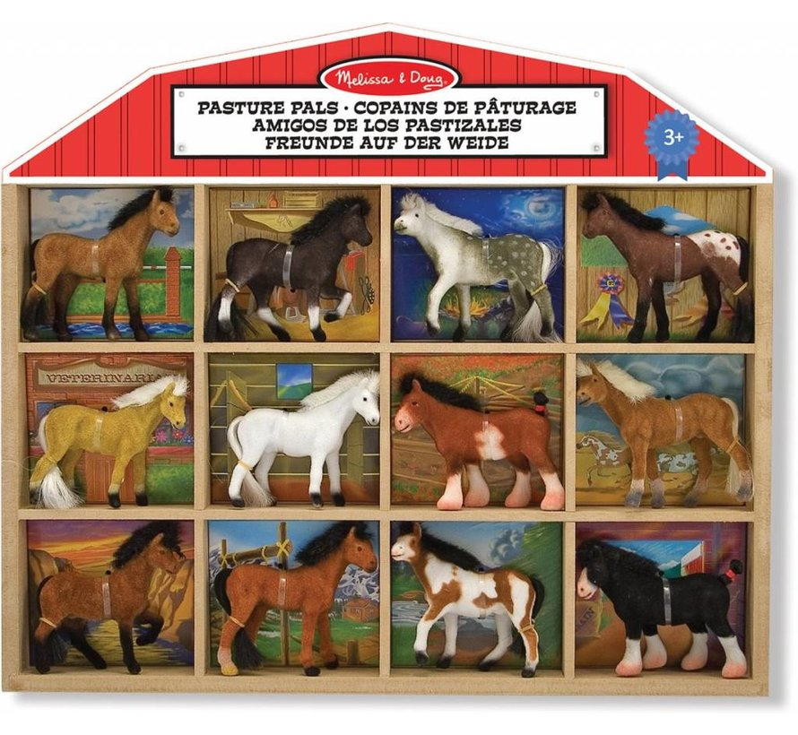 Melissa & Doug Pasture Pals - 12 paarden in houten stalachtige kist