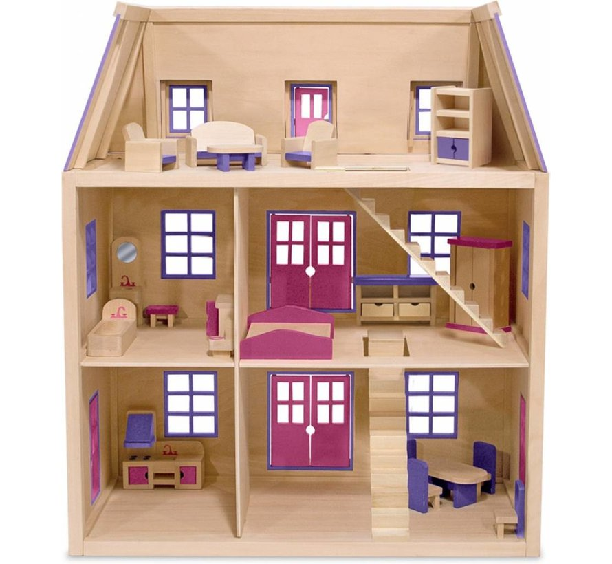 Melissa & Doug - Houten Poppenhuis met 3 Verdiepingen