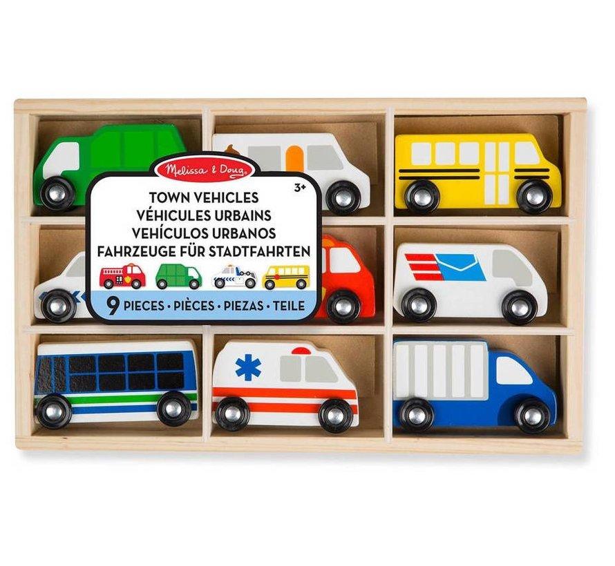 Melissa & Doug Houten set met stadsvoertuigen in houten opbergdoos (9-delig)