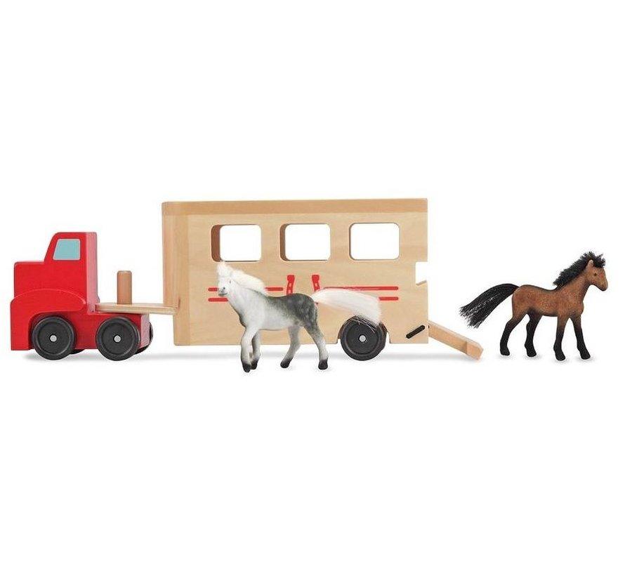 Melissa & Doug - Houten paardentrailer