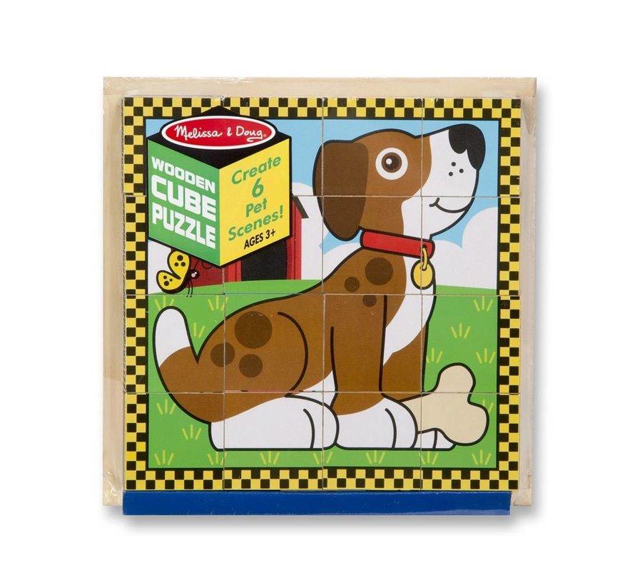 Melissa & Doug - Huisdieren - Blokken Puzzle
