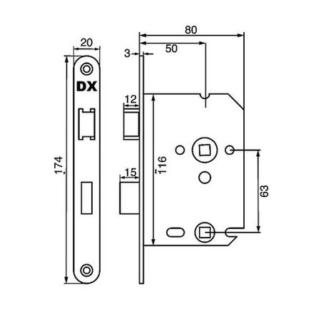 Dulimex Dulimex insteekslot voor  WC-badkamer  RVS