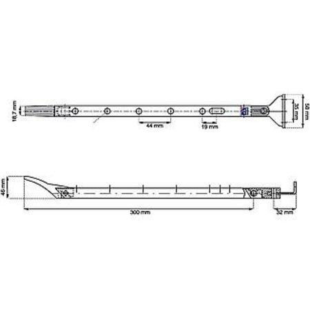 Dulimex Dulimex raamuitzetter verstelbaar 30 cm RVS finish zwart