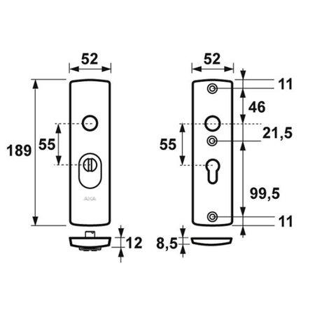 AXA Axa 6675 kerntrekbeslag kortschild kruk-kruk F1 SKG*** PC55