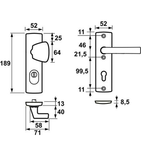 AXA Axa 6675 kerntrekbeslag kortschild  S-knop F1 SKG*** PC55