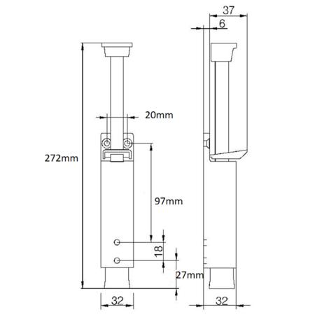 Dulimex Deurvastzetters met voetstift heavy duty 120mm schootuitslag deurgewicht 80kg