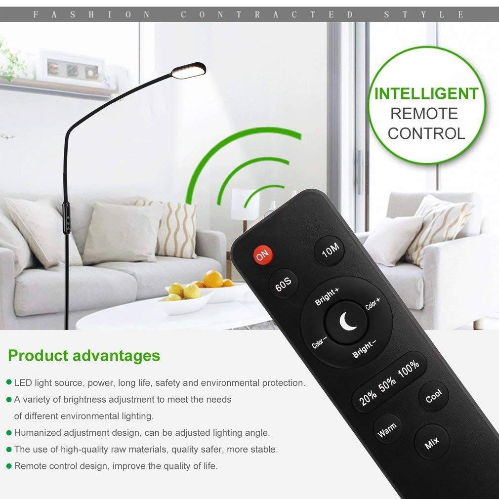 ICOCO Floor Lamp LED Standing Reading Desk Lamps with Remote Control Gooseneck Adjustable Pole Height