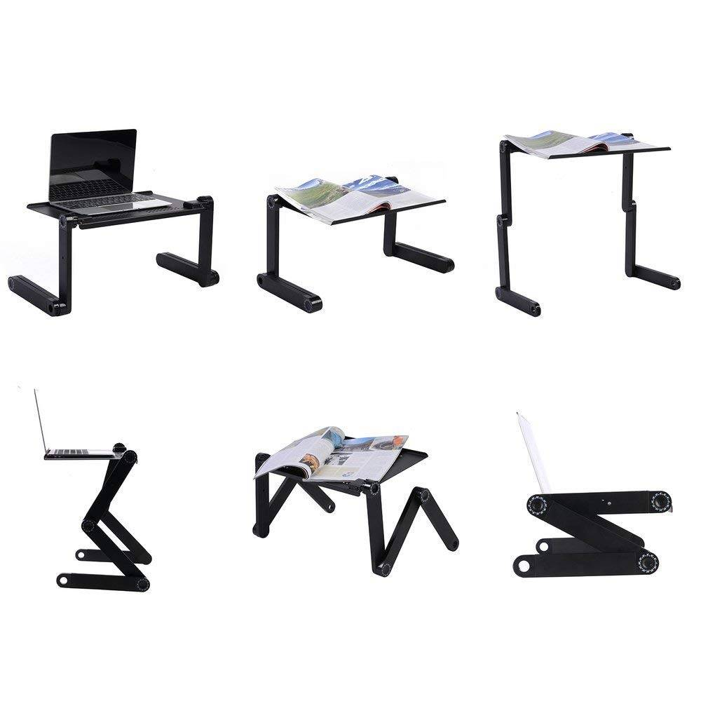 Cozime Laptop Table Portable Adjustable Ergonomic Computer Notebook Desk with Mouse Board and Cooling Cooler