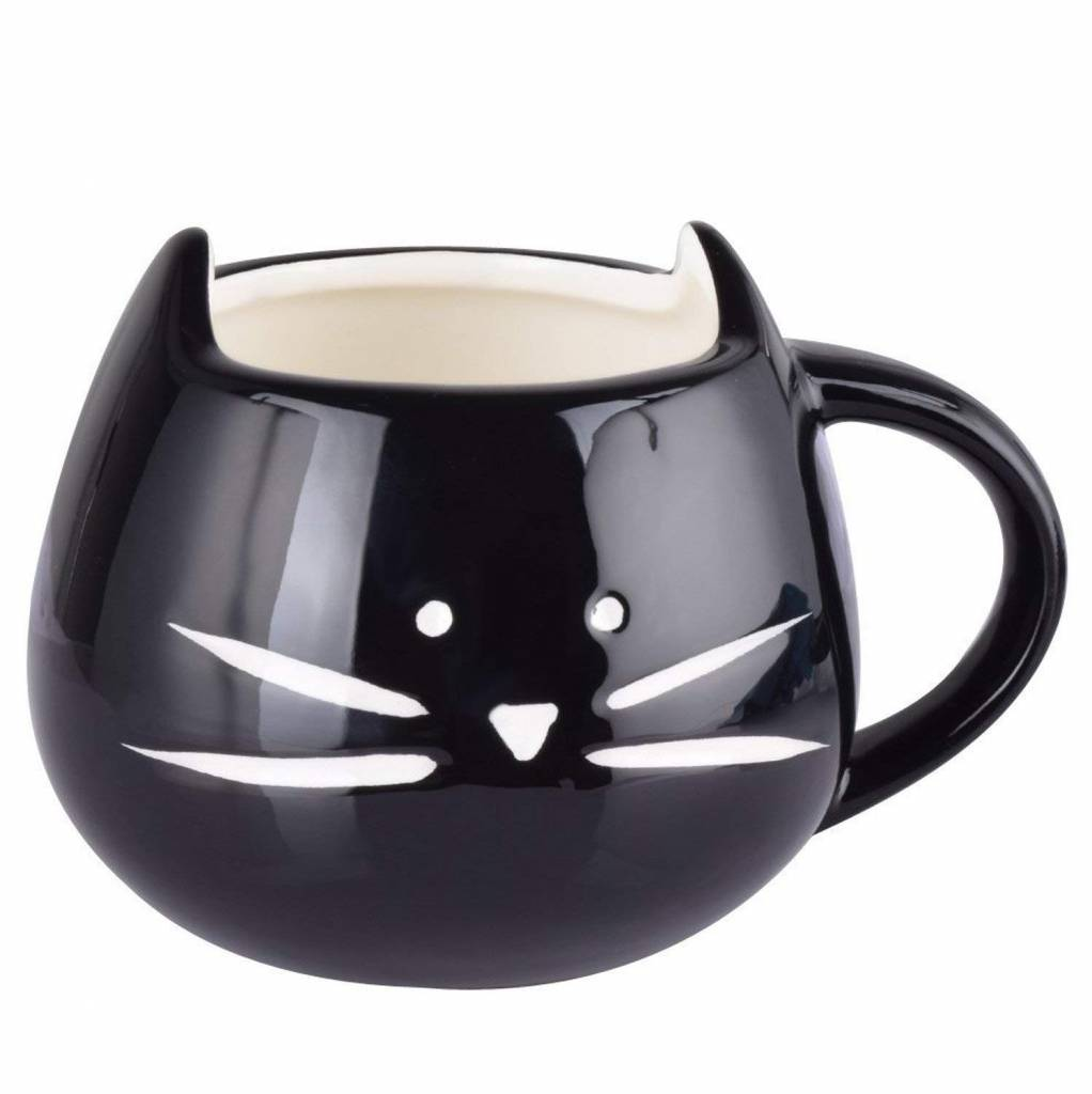 Rainbow Fox Coffee Cup - Cat, Ceramic, Black