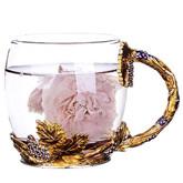 WAYDAY Enamel Glass Mug: Crystal Clear Glass Mug with Matching Enamel Spoon