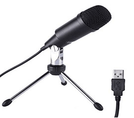 LESHP USB Microphone Wired Audio Condenser Microphone Plug&Play With Tripod Home Studio for PC for Skype Recordings for YouTube, Black