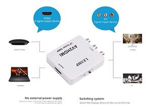 LESHP AV to HDMI Converter Adapter 1080P with USB Cable for TV/ PC/VCR / Blue-Ray DVD Players Supporting PAL/ NTSC Etc.(Two pieces)