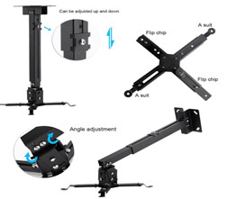 LESHP - Adjustable and adjustable ceiling support for the projector, up to 20 Kg, adjustable between 130mm and 650mm, inclination +/- 15º, black color