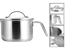 Stainless Steel Milk Pan, Fosslang Milk Pot with Lid 14 cm Approx 1.5L Pouring Rim Stainless Steel Saucepan Suitable for All Stove Tops