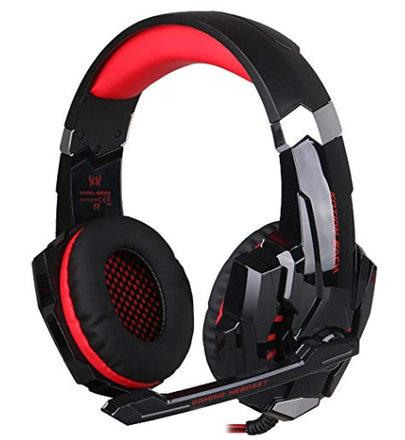 KOTION EACH G9000 3.5mm Game Gaming Headphone Headset Earphone Headband with Microphone LED Light for Computer Tablet Mobile Phones PS4 - Black/Red