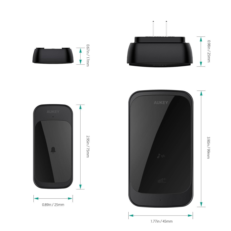 AUKEY WD-TD01 Waterdichte draadloze deurbel met 36 melodieën Volume tot 90dB Werkt op een afstand van 300m voor thuis, op kantoor, etc. Zwart