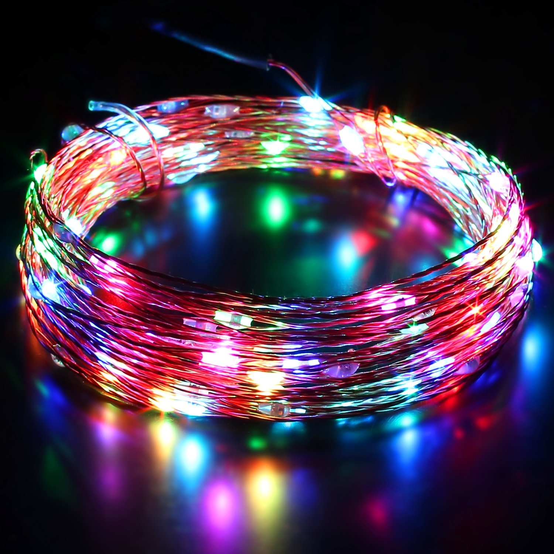 AUKEY LT-SS3 lichtslingers, 10 standen 10 meter 100LEDs Kerstverlichting Waterdichte koperdraad met afstandsbediening en kleurwissel voor tuin, bruiloft, feest, binnen, buiten (RGB)