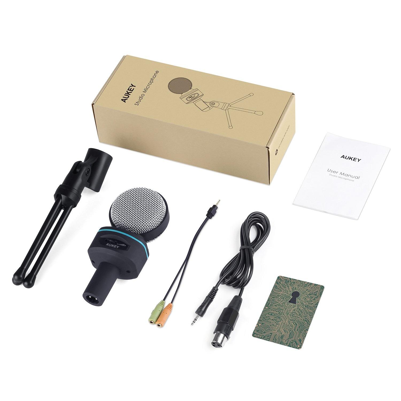 AUKEY MI-W1 condensatormicrofoon met statiefhouder en microfoon Audio Volumeregeling voor