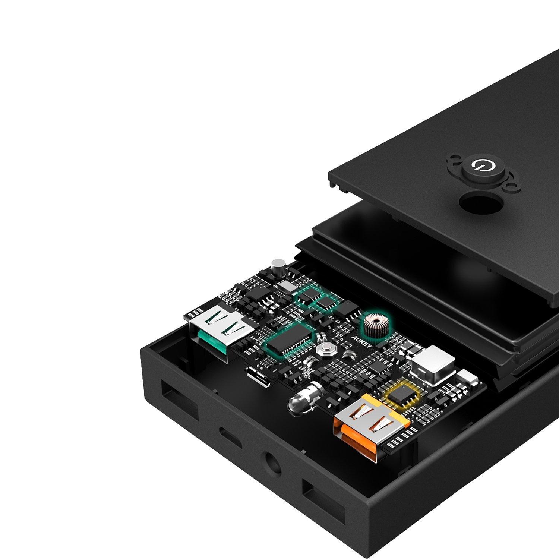 AUKEY externe batterij 16000 mAh powerbank met 2 USB-poorten, Quick Charge 3.0 + 5V 2.4A voor iPhone X / 8 / Plus / 7 / 6s, Samsung S8 + / S8, iPad, LG, HTC
