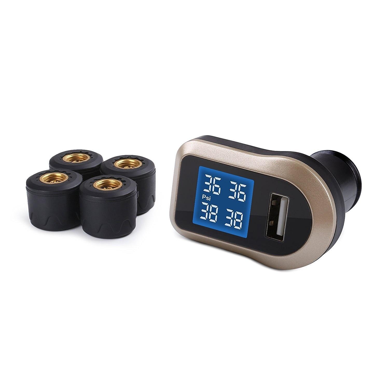 Aukey TP / CO / 001, bandenspanningscontrolesysteem voertuig, TPMS met display, zwart