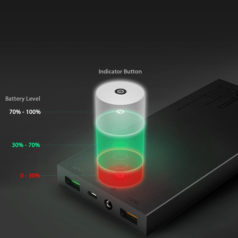 AUKEY PB-T3 16000mAh Quick Charge Power Bank 16000 mAh, batterijpakket met 5V / 2.4A + Quick Charge uitgangen, voor iPhone X / 8 / Plus / 7 / 6s, Samsung S8 + / S8, iPad