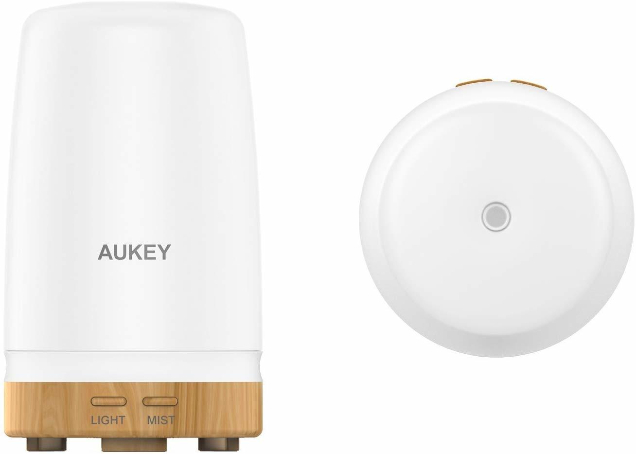 AUKEY etherische oliediffuser, 100 ml matglazen ultrasone diffuser voor aromatherapie, draagbare luchtbevochtiger met kleurveranderende led-verlichting en automatische uitschakeling