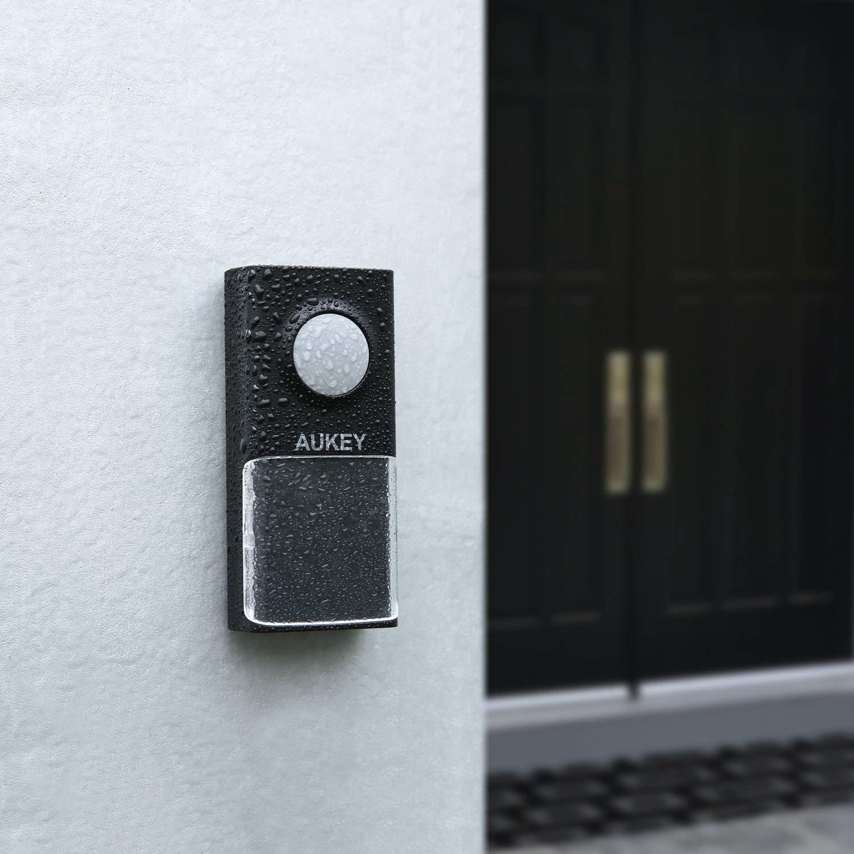 AUKEY draadloze deurbel IP55 waterdichte plug-in draadloze deurbelkit met led-indicator, tot 85dB en 492ft bereik