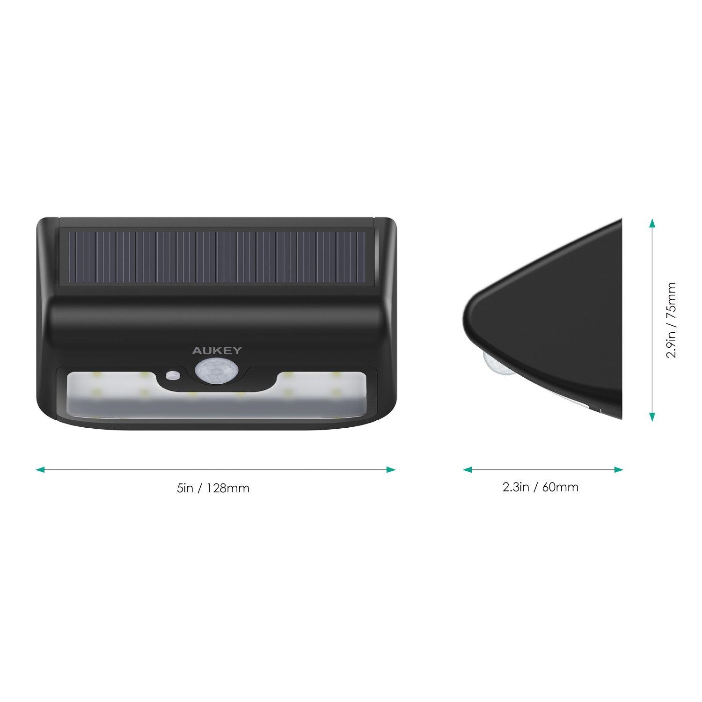 AUKEY Solar Light, 2-pack 120lm 10-LED motion sensor lights, water-resistant, outdoor, wall-mounted lighting for garden, terrace or veranda