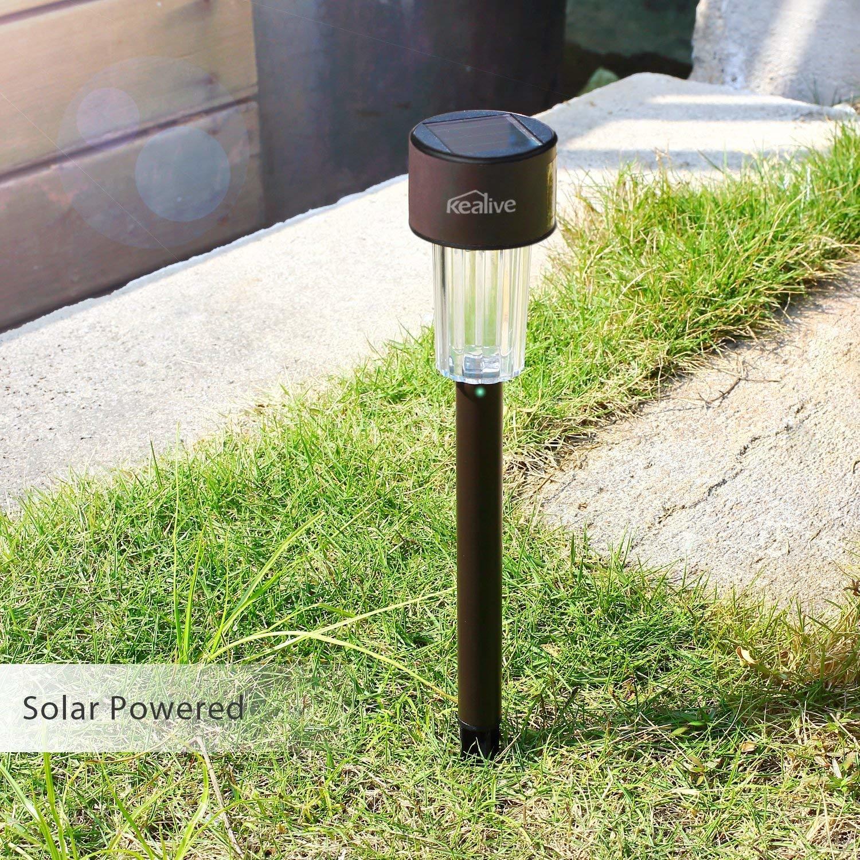 Kealive Solar Lights 6 LED Garden Solar Post Lights Roestvrij staal Waterdicht voor Yard, Pathwaysand Lawn, 1.2V (LT-SO1)