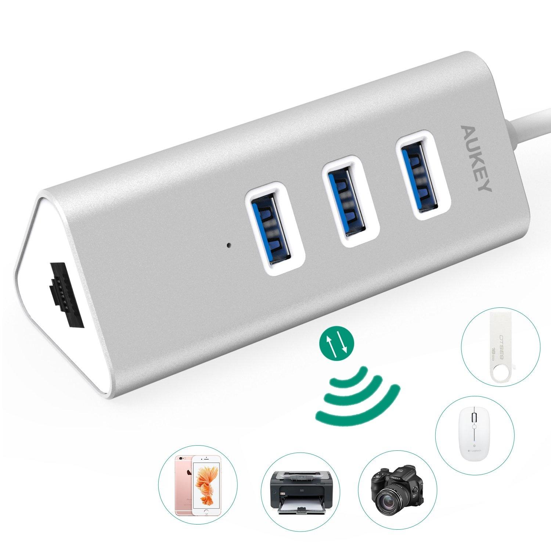 Aukey CB-H32 USB 3.0 Hub 3-poort met 1 Ethernet-verbinding voor Win XP / Vista / 7/8/10, Apple Mac OS Silver