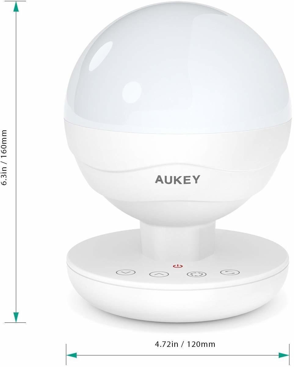 AUKEY oplaadbare tafellamp, dimbare RGB-kleuren led-bedlamp met aanraakscherm en intrekbare hanglus (LT-ST10)