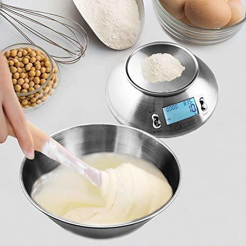 Camry EK4150 Digitale roestvrijstalen keukenweegschaal, 11lb / 5kg weegschaal met mengkom van 2,15 liter, kamertemperatuursensor ℉ en timeralarm LCD-display met achtergrondverlichting