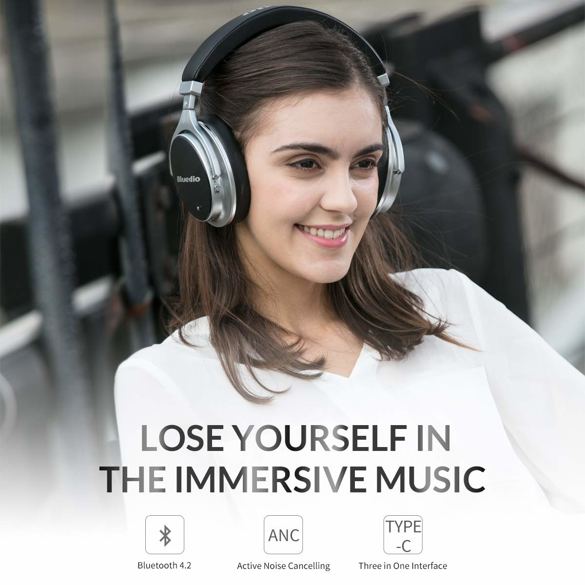Bluedio F2 Bluetooth-hoofdtelefoon Actieve ruisonderdrukking, Bluedio F2 ANC draadloze hoofdtelefoon voor over het oor 180 ° rotatie, bedrade en draadloze hoofdtelefoon voor mobiele telefoon / tv / pc - zwart