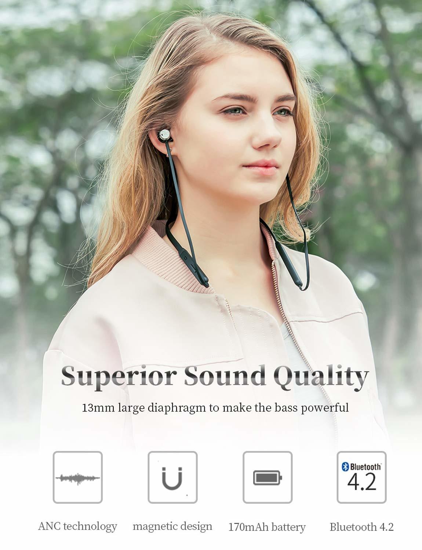Bluedio TN (Turbine) Active Noise Cancelling hoofdtelefoon, Bluetooth 4.2 Wireless Sports headsets, Magnetic sweatproof Running oordopjes met microfoon